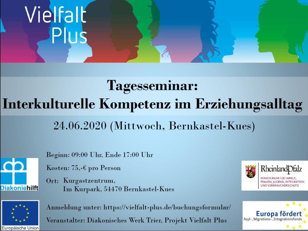 """Einladung zum Tagesseminar """"Interkulturelle Kompetenz im Erziehungsalltag"""" in Bernkastel-Kues am 24.06.2020"""